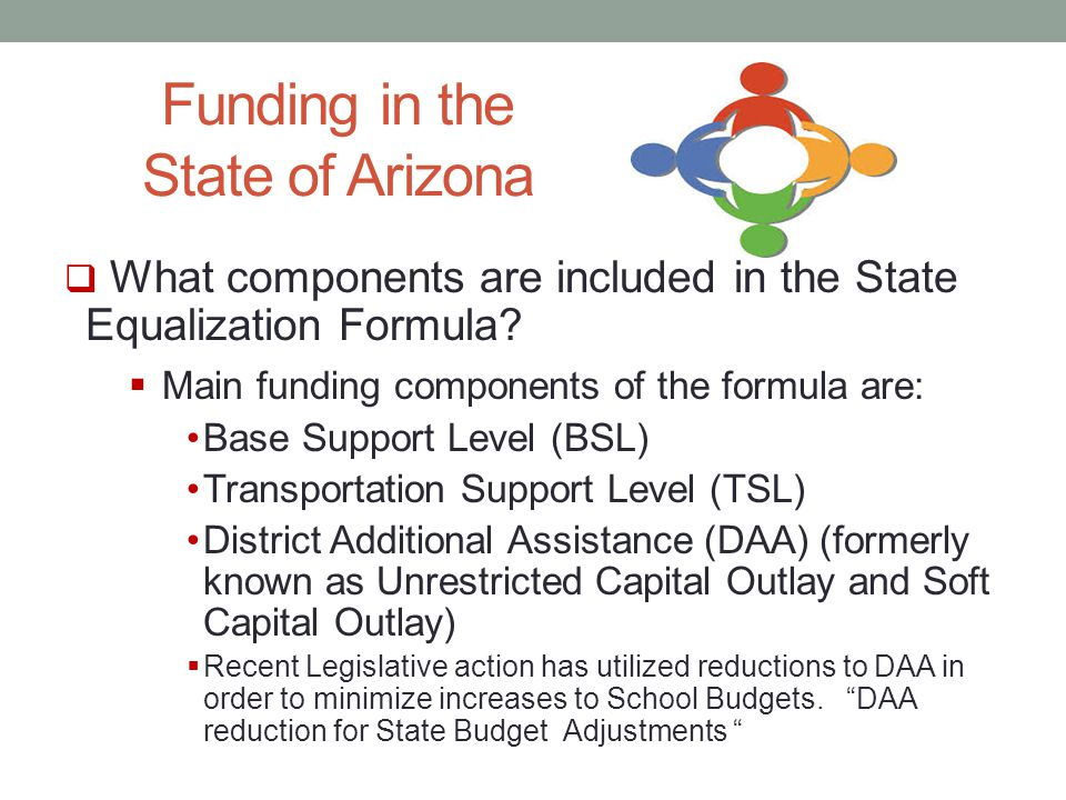 Funding in the State of Arizona  What components are included in the State Equalization Formula.