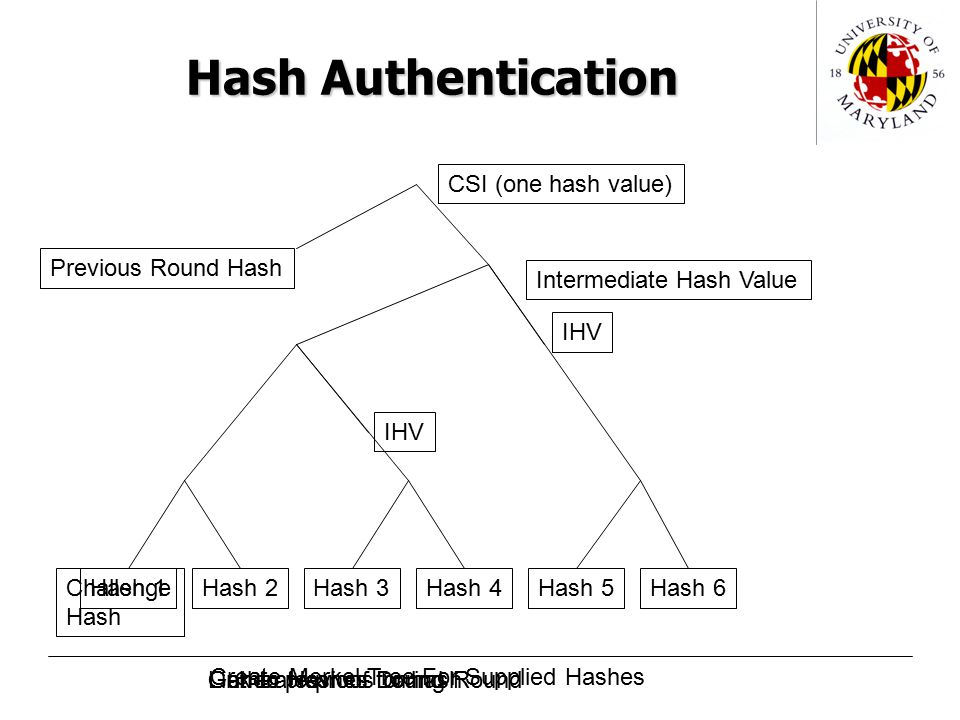 Hash Authentication Hash 1Hash 6Hash 5Hash 3Hash 4Hash 2 Intermediate Hash Value Previous Round Hash CSI (one hash value) Challenge Hash IHV Gather Hashes During Round Create Merkel Tree For Supplied Hashes Link to previous roundGenerate proof for hash