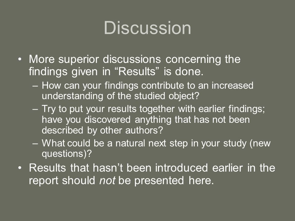 Conclusion(s) Summarizes the most important results and discussions earlier presented.