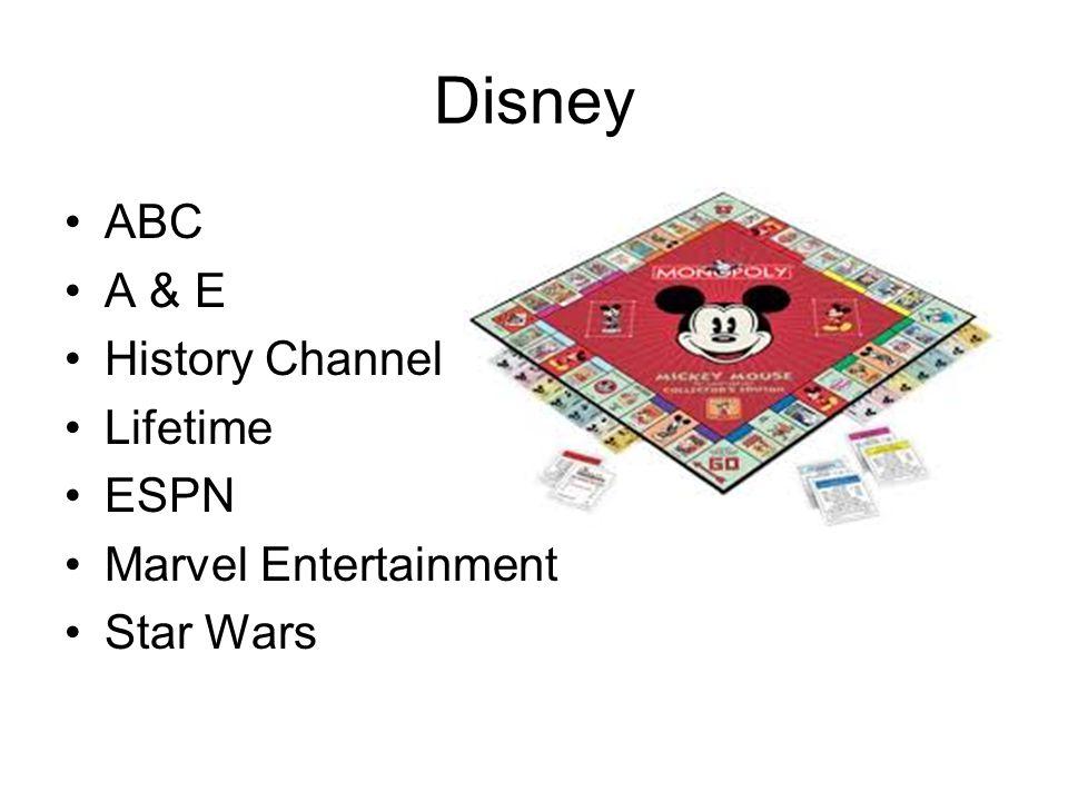 Disney ABC A & E History Channel Lifetime ESPN Marvel Entertainment Star Wars