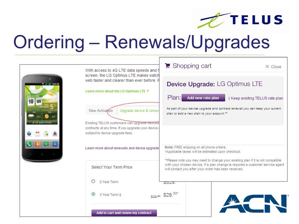 Ordering – Renewals/Upgrades