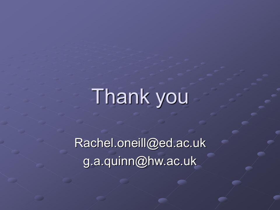 Thank you Rachel.oneill@ed.ac.ukg.a.quinn@hw.ac.uk