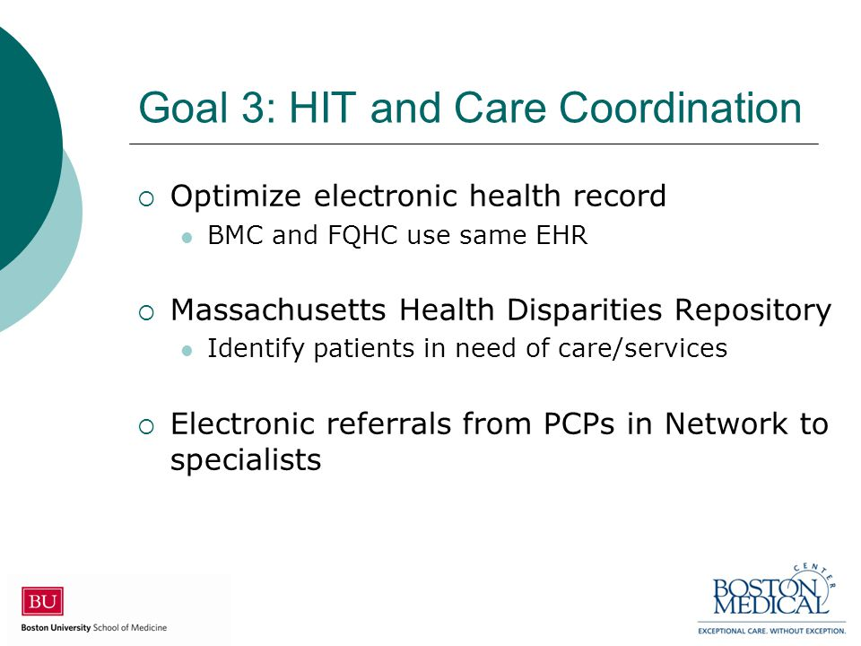 Goal 3: HIT and Care Coordination  Optimize electronic health record BMC and FQHC use same EHR  Massachusetts Health Disparities Repository Identify