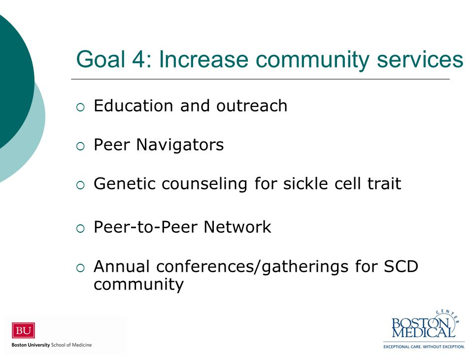 Goal 4: Increase community services  Education and outreach  Peer Navigators  Genetic counseling for sickle cell trait  Peer-to-Peer Network  Annual conferences/gatherings for SCD community