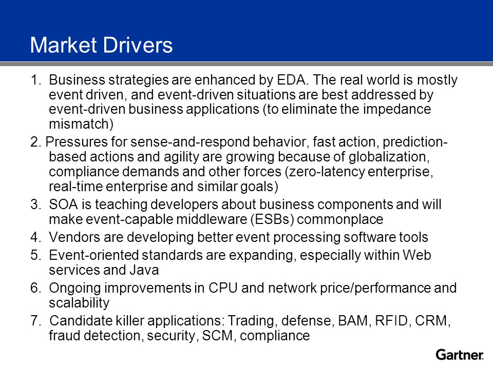 Market Drivers 1.Business strategies are enhanced by EDA.