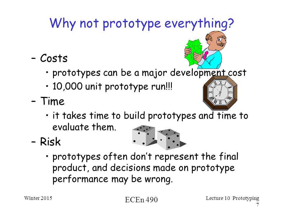 Winter 2015 ECEn 490 Lecture 10 Prototyping 7 Why not prototype everything.