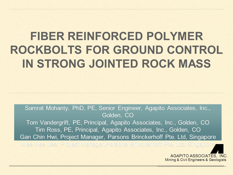 OVERVIEW Jurong Cavern: Introduction Fiber Reinforced Polymer (FRP) rockbolts vs.