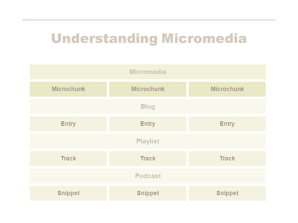 Understanding Micromedia Microchunk Micromedia Entry Blog Track Playlist Snippet Podcast