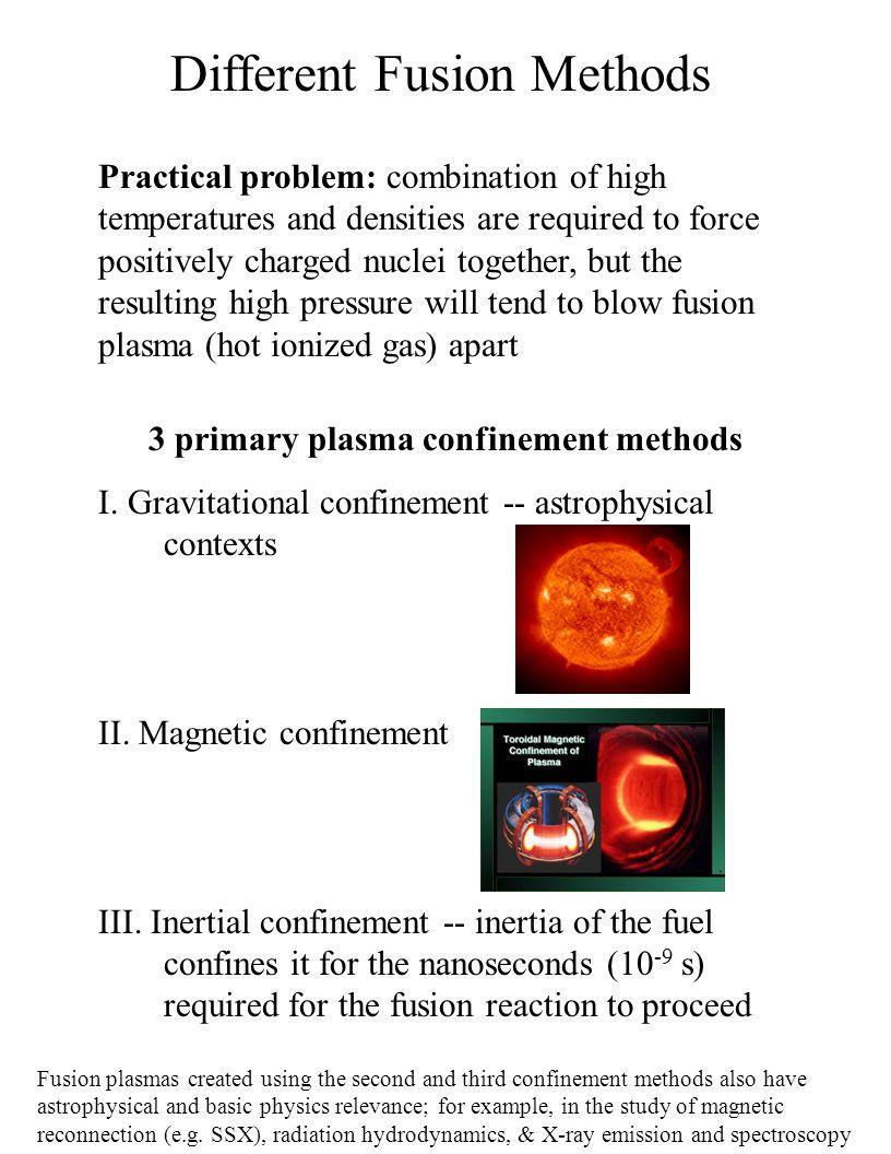 Different Fusion Methods 3 primary plasma confinement methods I.