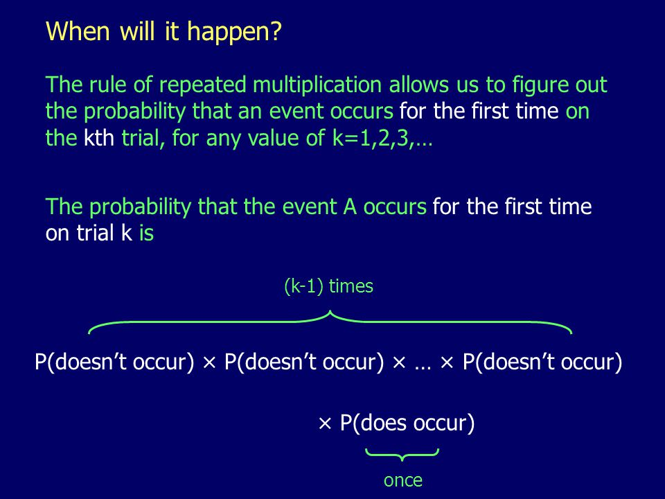 When will it happen? The rule of repeated multiplication allows us to figure out the probability that an event occurs for the first time on the kth tr
