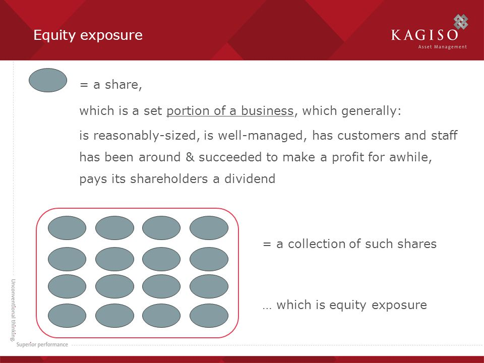 Equity exposure = a share, which is a set portion of a business, which generally: is reasonably-sized, is well-managed, has customers and staff has been around & succeeded to make a profit for awhile, pays its shareholders a dividend = a collection of such shares … which is equity exposure