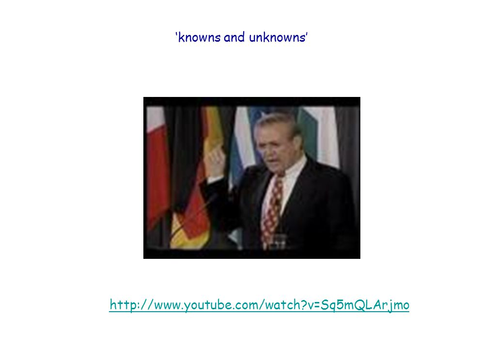 http://www.youtube.com/watch v=Sq5mQLArjmo 'knowns and unknowns'