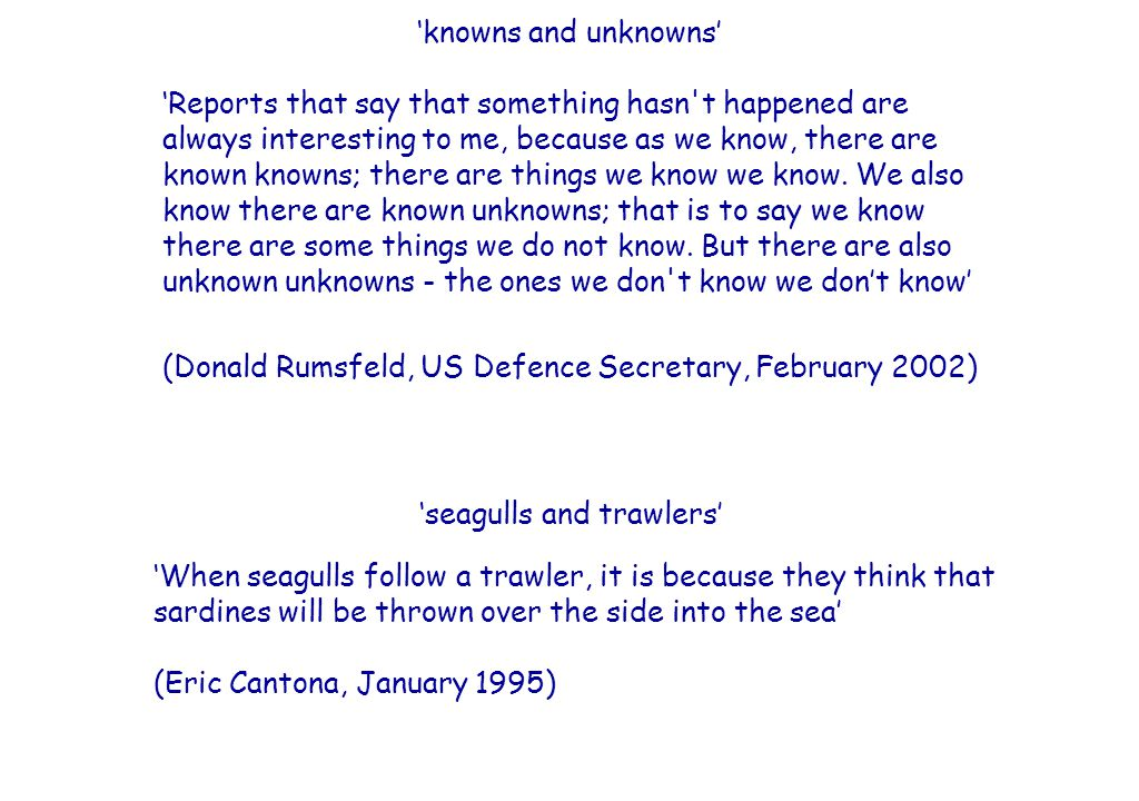 SEMANTICS-PRAGMATICS ACTIVITY See if you can give a rough characterisation of what is linguistically encoded by Donald Rumsfeld's and Eric Cantona's utterances.