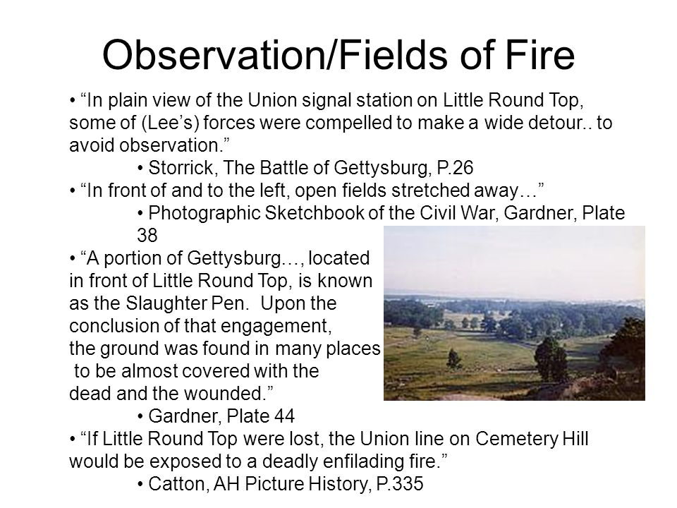 "Observation/Fields of Fire ""In plain view of the Union signal station on Little Round Top, some of (Lee's) forces were compelled to make a wide detour"