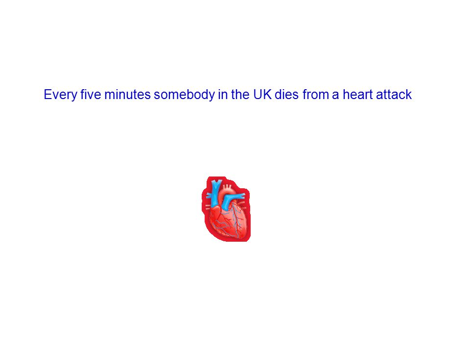 Every five minutes somebody in the UK dies from a heart attack