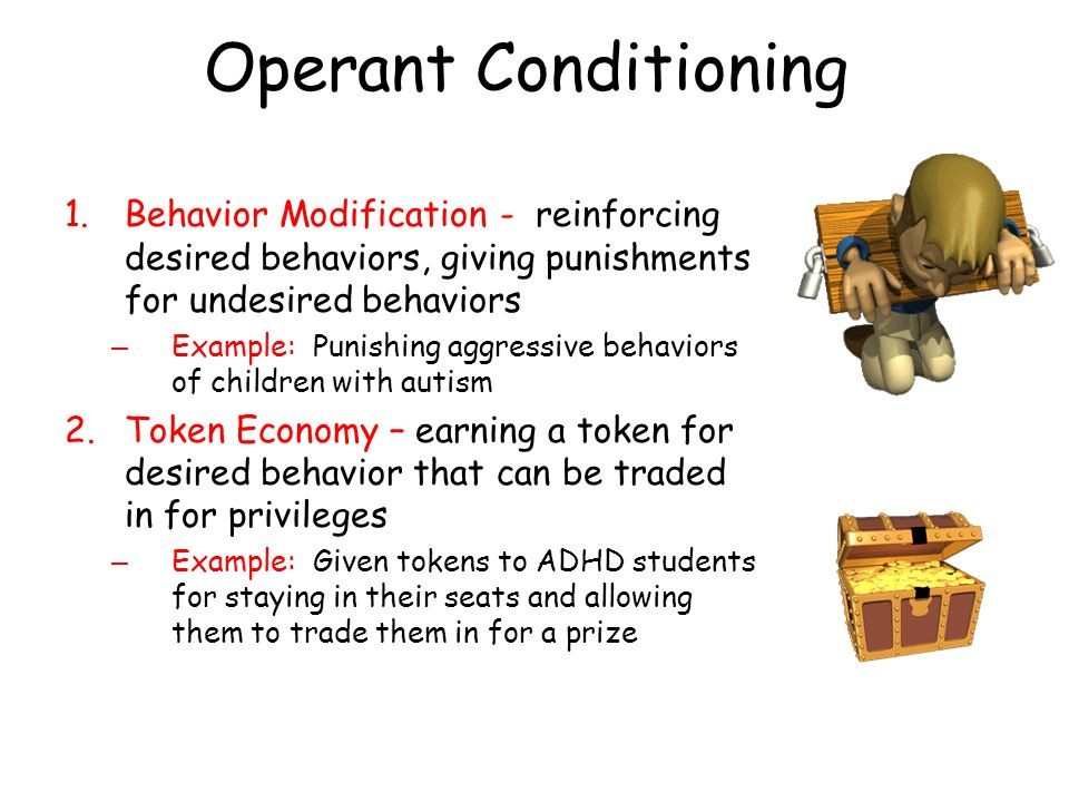 Operant Conditioning 1.Behavior Modification - reinforcing desired behaviors, giving punishments for undesired behaviors – Example: Punishing aggressi