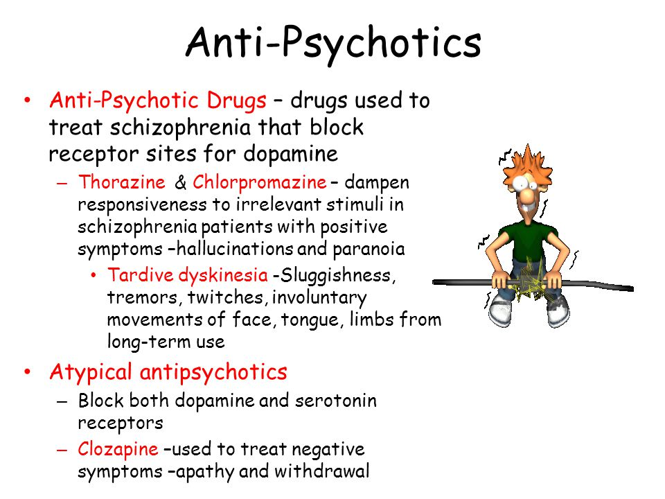 Anti-Psychotics Anti-Psychotic Drugs – drugs used to treat schizophrenia that block receptor sites for dopamine – Thorazine & Chlorpromazine – dampen