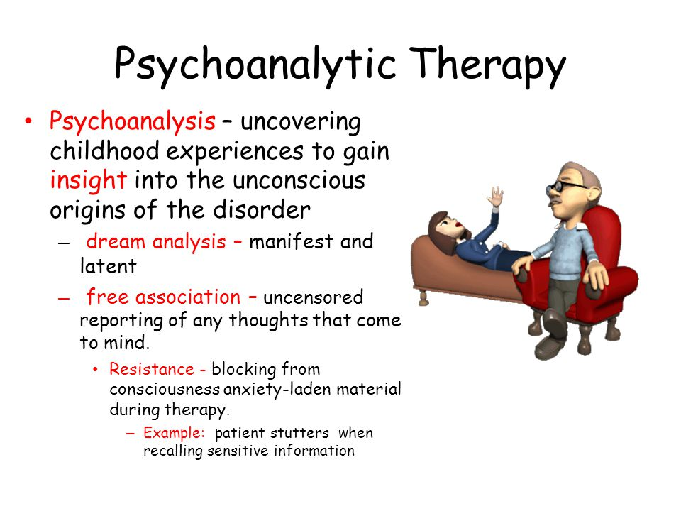Psychoanalytic Therapy – Transferring - expression toward a therapist of feelings linked with earlier relationships Example: Hatred toward mother is expressed as hatred toward therapist