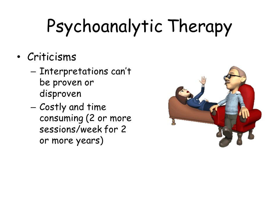 Psychoanalytic Therapy Criticisms – Interpretations can't be proven or disproven – Costly and time consuming (2 or more sessions/week for 2 or more ye