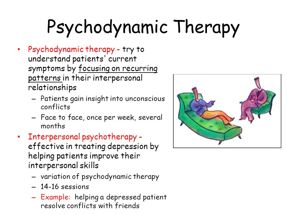 Psychodynamic Therapy Psychodynamic therapy - try to understand patients' current symptoms by focusing on recurring patterns in their interpersonal re