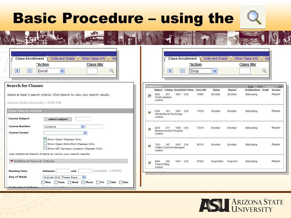 Basic Procedure – using the