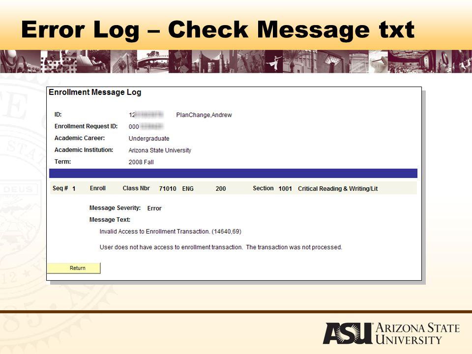 Error Log – Check Message txt