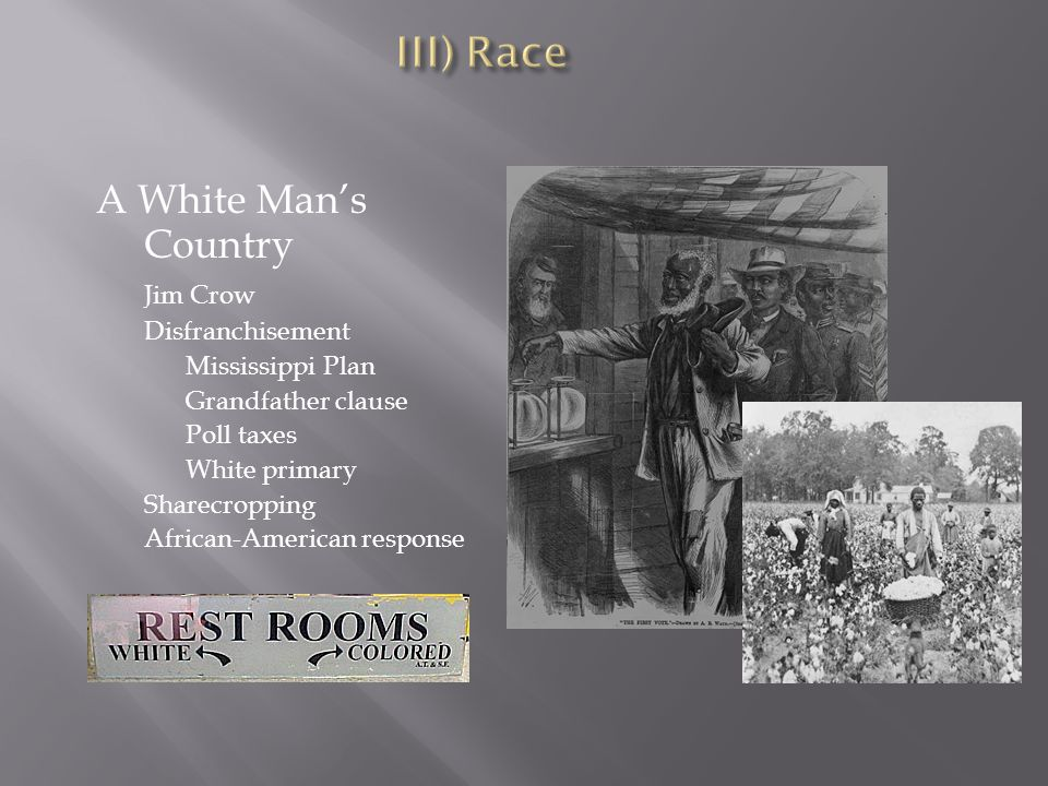 A White Man's Country Jim Crow Disfranchisement Mississippi Plan Grandfather clause Poll taxes White primary Sharecropping African-American response