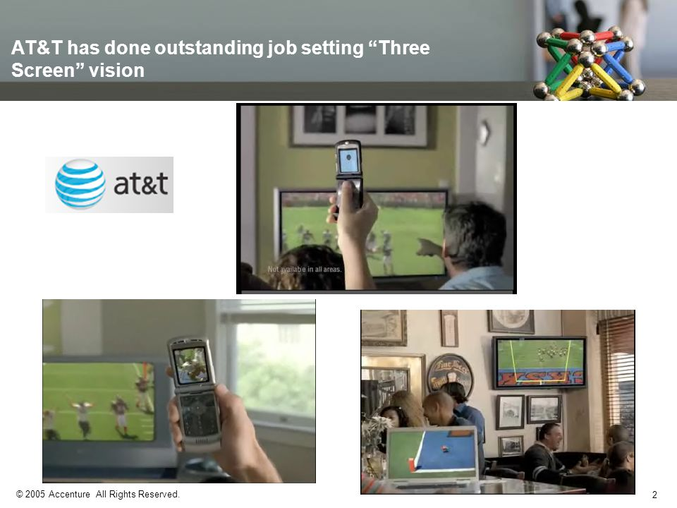 2 © 2005 Accenture All Rights Reserved. AT&T has done outstanding job setting Three Screen vision