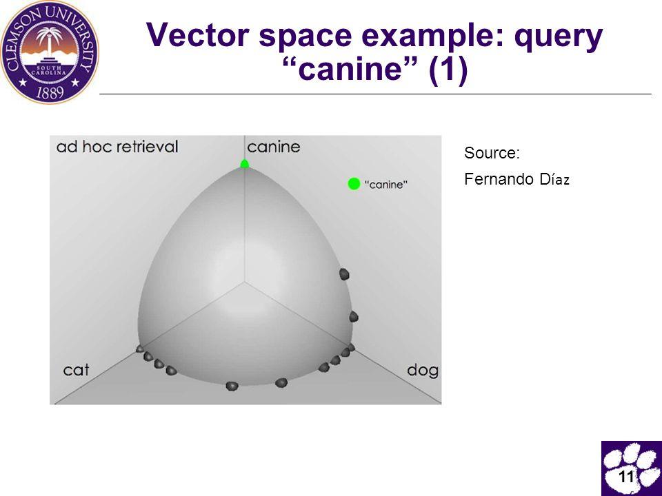 """11 Vector space example: query """"canine"""" (1) Source: Fernando D íaz"""