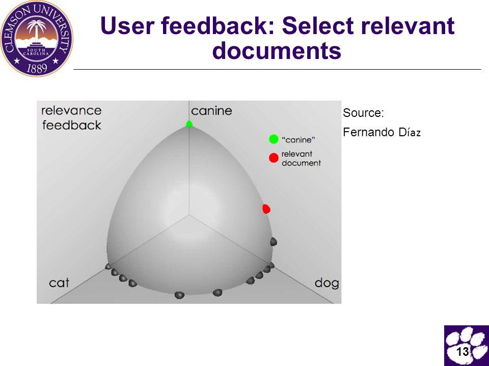 13 User feedback: Select relevant documents Source: Fernando D íaz