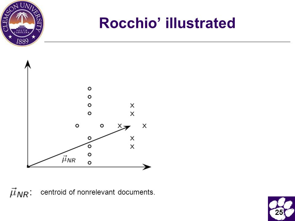 25 Rocchio' illustrated centroid of nonrelevant documents.
