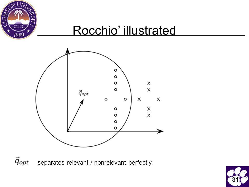 31 Rocchio' illustrated separates relevant / nonrelevant perfectly.