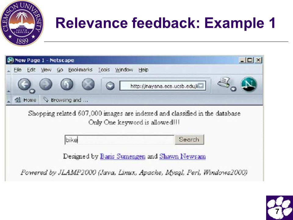 7 Relevance feedback: Example 1
