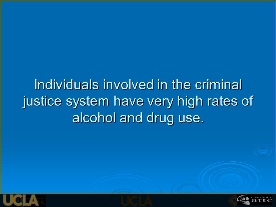 Individuals involved in the criminal justice system have very high rates of alcohol and drug use.
