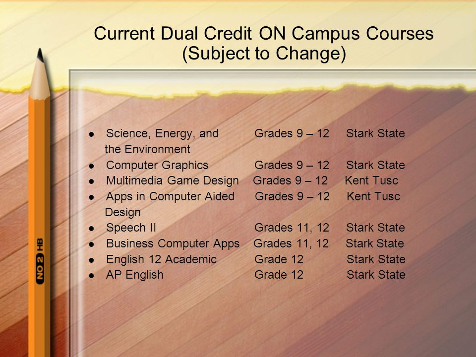 Current Dual Credit ON Campus Courses (Subject to Change) Science, Energy, and Grades 9 – 12 Stark State the Environment Computer Graphics Grades 9 – 12 Stark State Multimedia Game Design Grades 9 – 12 Kent Tusc Apps in Computer Aided Grades 9 – 12 Kent Tusc Design Speech II Grades 11, 12 Stark State Business Computer Apps Grades 11, 12 Stark State English 12 Academic Grade 12 Stark State AP English Grade 12 Stark State