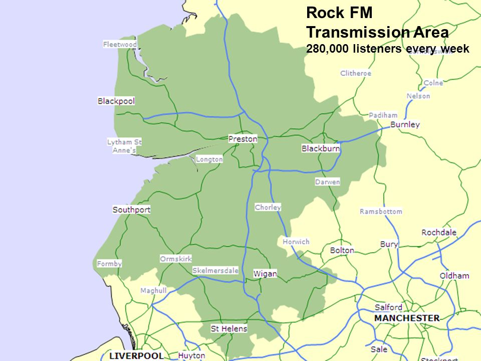 Station Information STATION FORMAT: 97.4 Rock FM is the Radio Station for Preston, Blackpool, Blackburn, Wigan, Southport and the North West. Starting