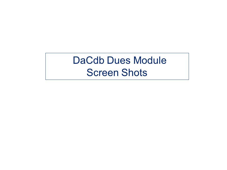 DaCdb Dues Module Screen Shots