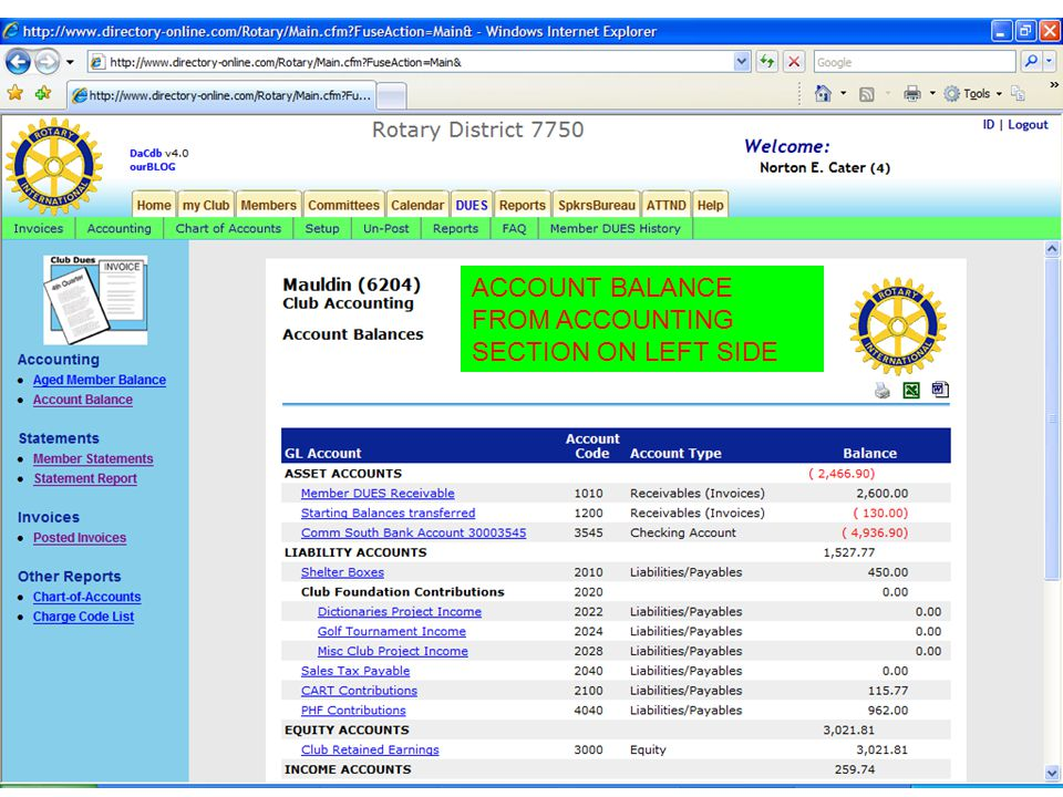 ACCOUNT BALANCE FROM ACCOUNTING SECTION ON LEFT SIDE