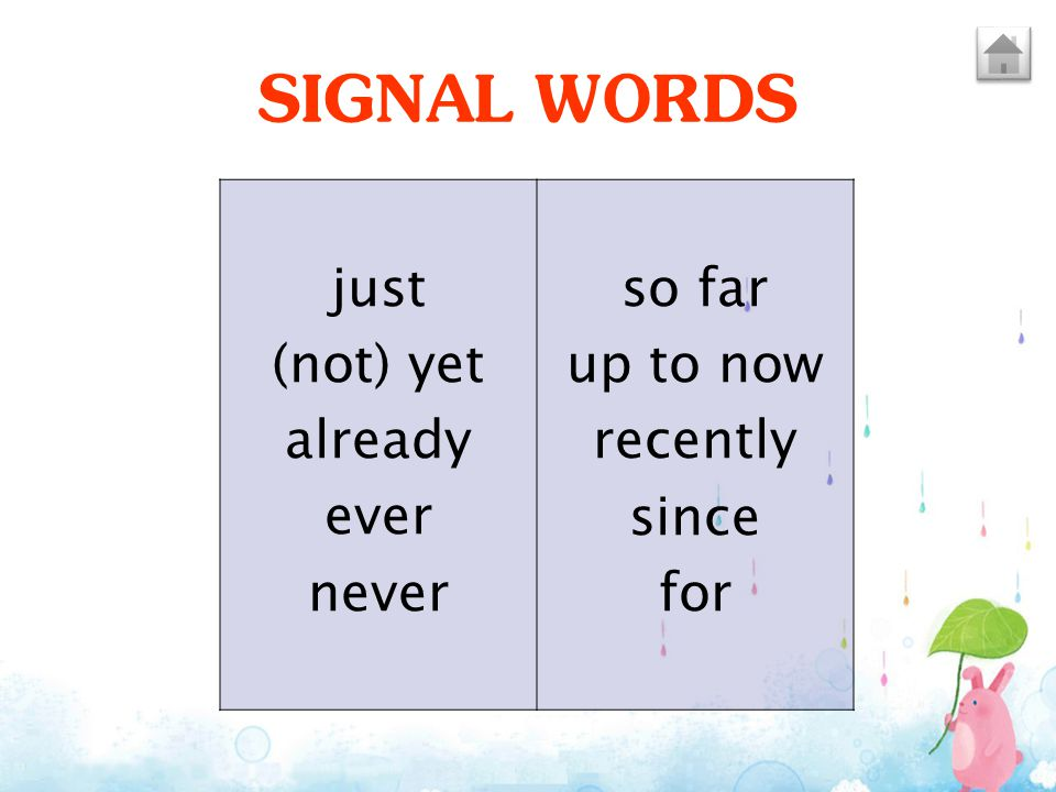 SIGNAL WORDS just (not) yet already ever never so far up to now recently since for