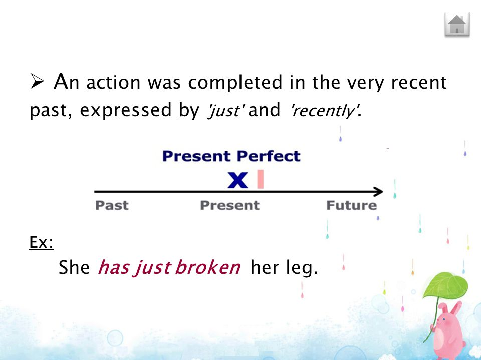  A n action was completed in the very recent past, expressed by 'just' and 'recently'. Ex: She has just broken her leg.
