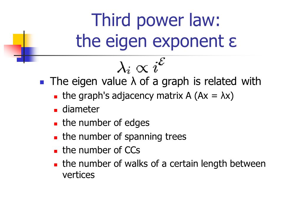 Third power law: the eigen exponent ε The eigen value λ of a graph is related with the graph s adjacency matrix A (Ax = λx) diameter the number of edges the number of spanning trees the number of CCs the number of walks of a certain length between vertices