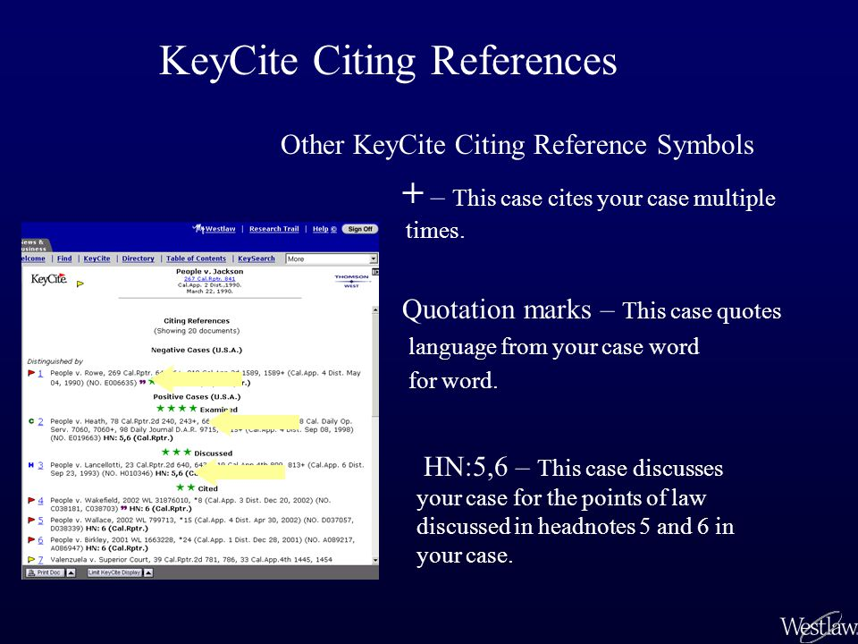 Limiting Citing References in KeyCite Roe v.