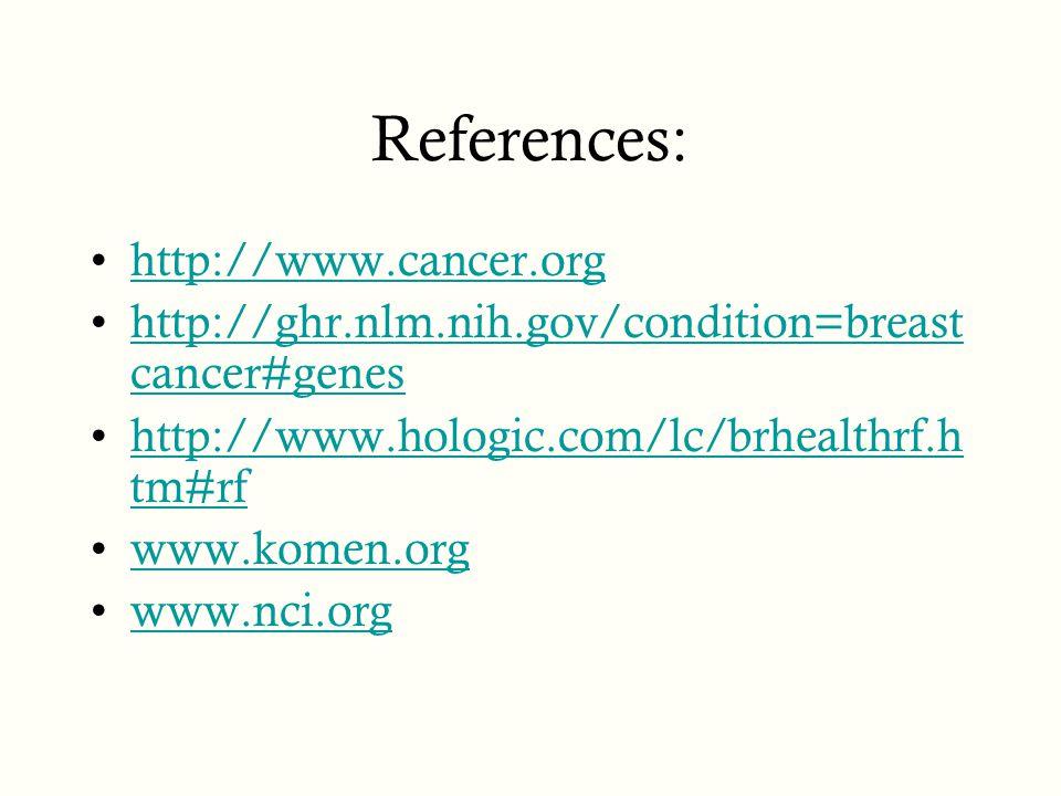 References: http://www.cancer.org http://ghr.nlm.nih.gov/condition=breast cancer#geneshttp://ghr.nlm.nih.gov/condition=breast cancer#genes http://www.hologic.com/lc/brhealthrf.h tm#rfhttp://www.hologic.com/lc/brhealthrf.h tm#rf www.komen.org www.nci.org