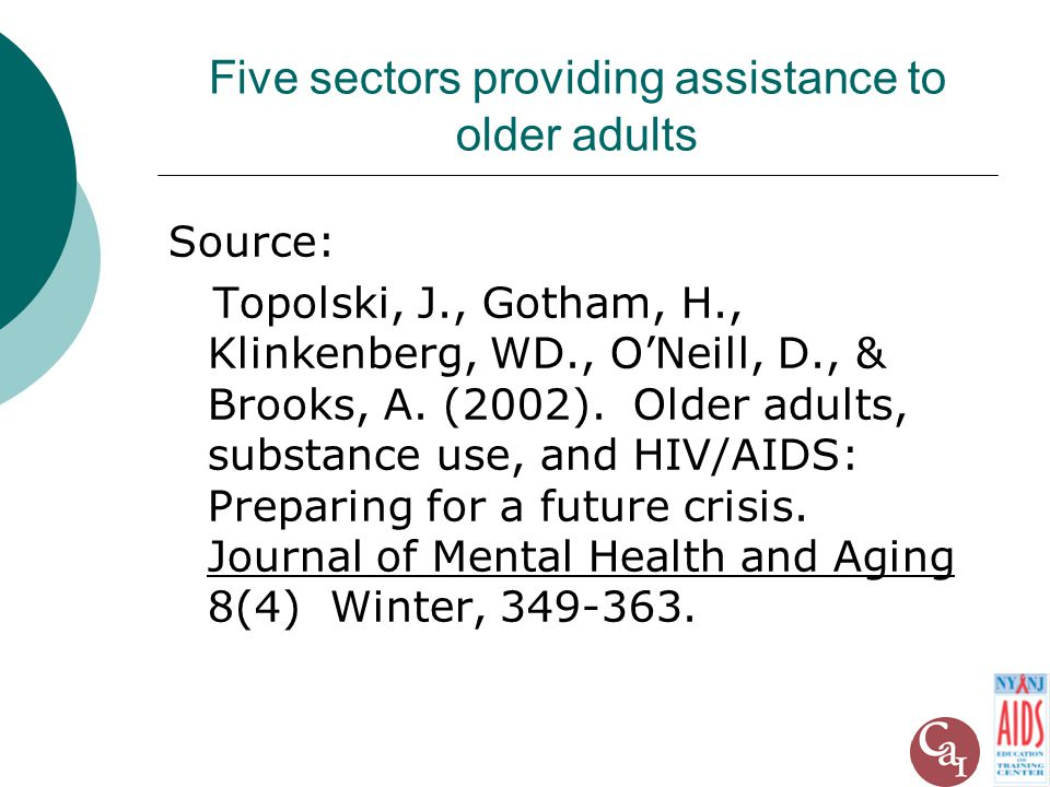 Five sectors providing assistance to older adults Source: Topolski, J., Gotham, H., Klinkenberg, WD., O'Neill, D., & Brooks, A.