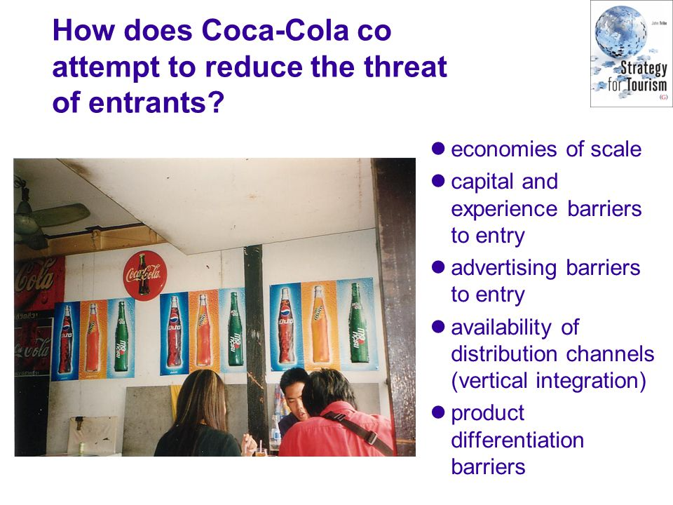How does Coca-Cola co attempt to reduce the threat of entrants? economies of scale capital and experience barriers to entry advertising barriers to en