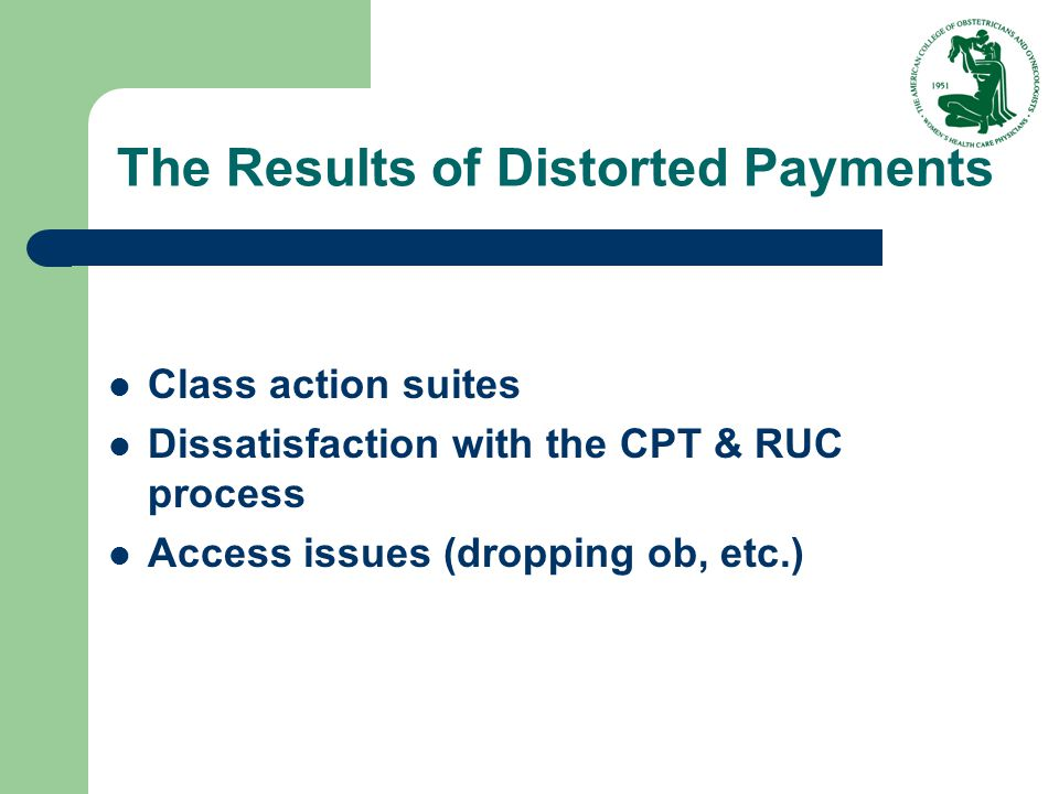 The Results of Distorted Payments Class action suites Dissatisfaction with the CPT & RUC process Access issues (dropping ob, etc.)