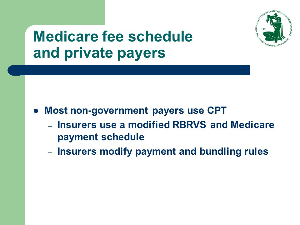 Medicare fee schedule and private payers Most non-government payers use CPT – Insurers use a modified RBRVS and Medicare payment schedule – Insurers m