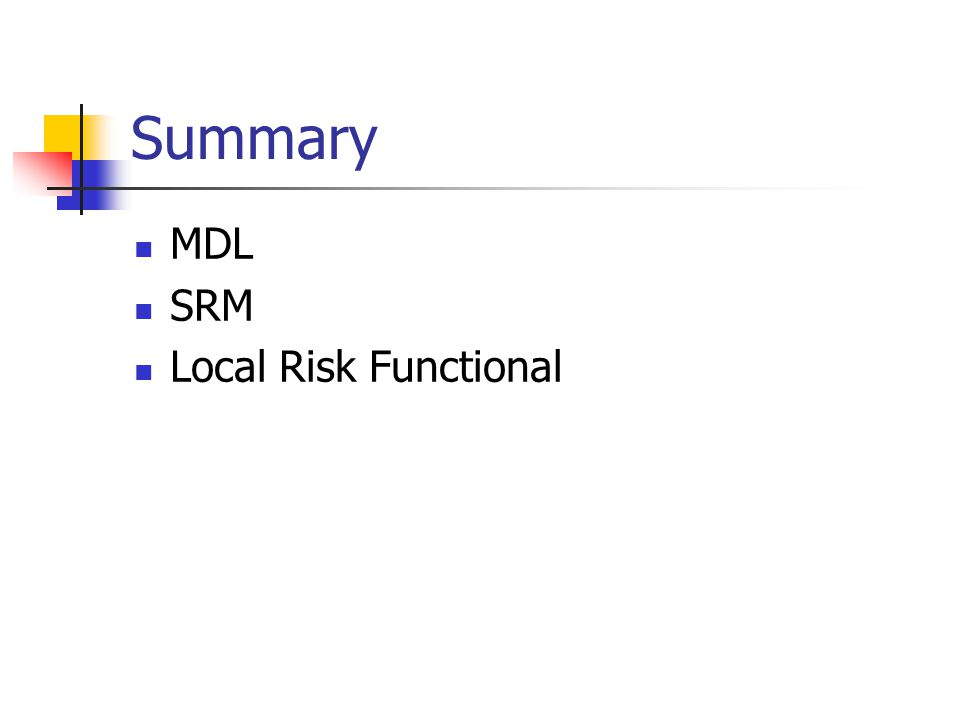 Summary MDL SRM Local Risk Functional