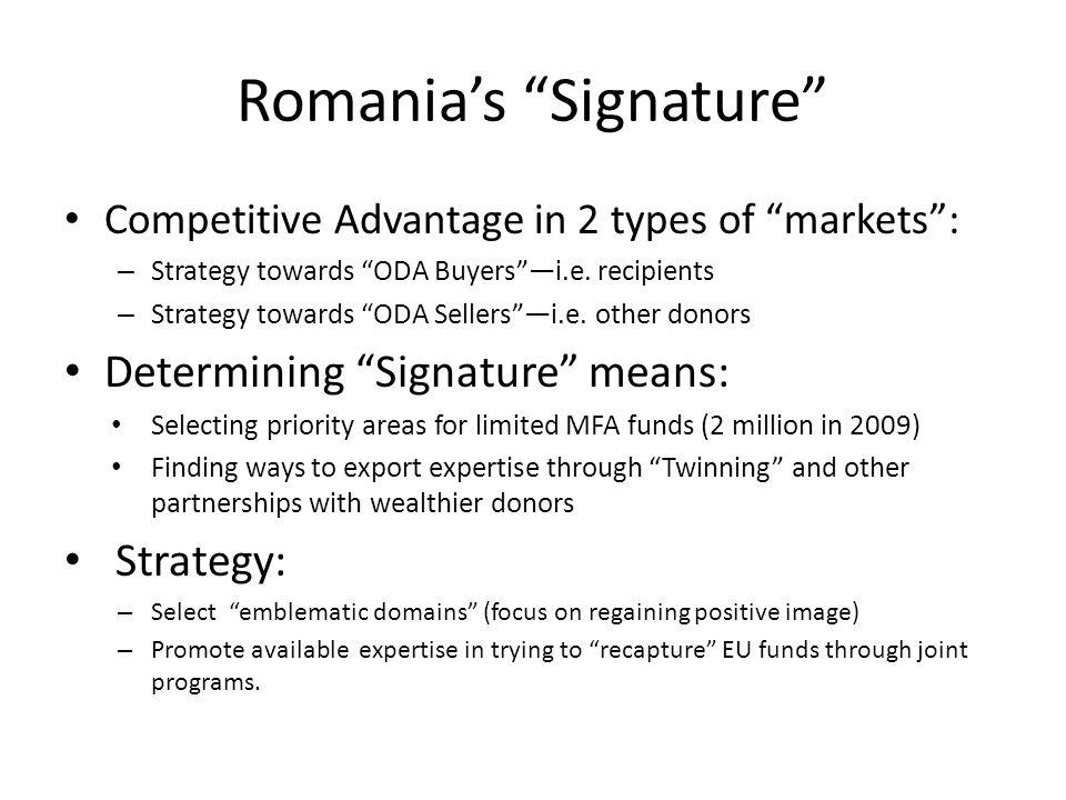 Romania's Signature Competitive Advantage in 2 types of markets : – Strategy towards ODA Buyers —i.e.