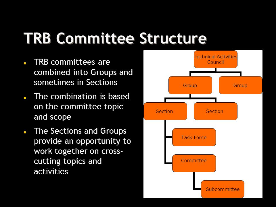 TRB Committee Structure n TRB committees are combined into Groups and sometimes in Sections n The combination is based on the committee topic and scope n The Sections and Groups provide an opportunity to work together on cross- cutting topics and activities Technical Activities Council Group Section Task Force Committee Subcommittee Section Group